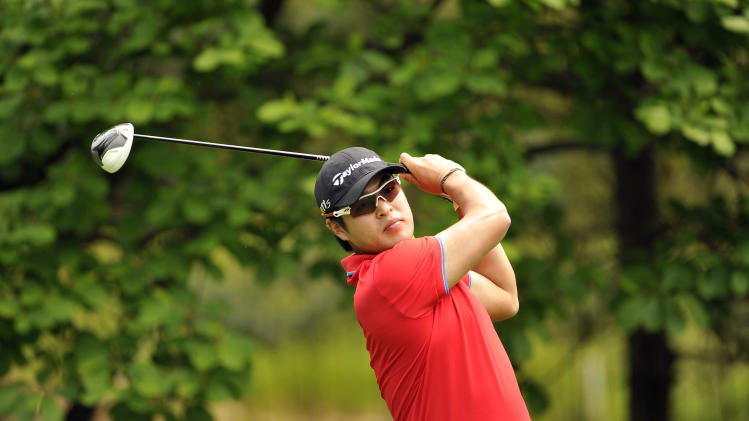 "This handout photo provided by OneAsia on May 12, 2012 shows Bang Doo-hwan of South Korea during the 31st GS Caltex Maekyung Open Golf Championship at the Nam Seoul Golf and Country Club in Seoul.  The 900,000 USD event is the 3rd leg on the OneAsia Tour and is held from May 10-13, 2012.  AFP PHOTO / Paul Lakatos / OneAsia  -  RESTRICTED TO EDITORIAL USE - MANDATORY CREDIT ""AFP PHOTO / Paul Lakatos / OneAsia"" - NO MARKETING NO ADVERTISING CAMPAIGNS - DISTRIBUTED AS A SERVICE TO CLIENTSPAUL LAKATOS/AFP/GettyImages"