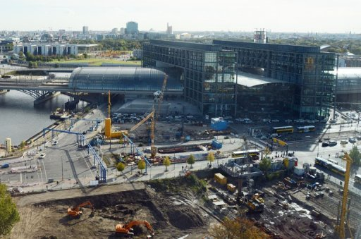 <p>A construction site in the new Europacity district next to Berlin's main station. Investor sentiment in Germany rose for the second month in a row in October, data showed Tuesday, as recent uncertainty on the financial markets has abated somewhat.</p>