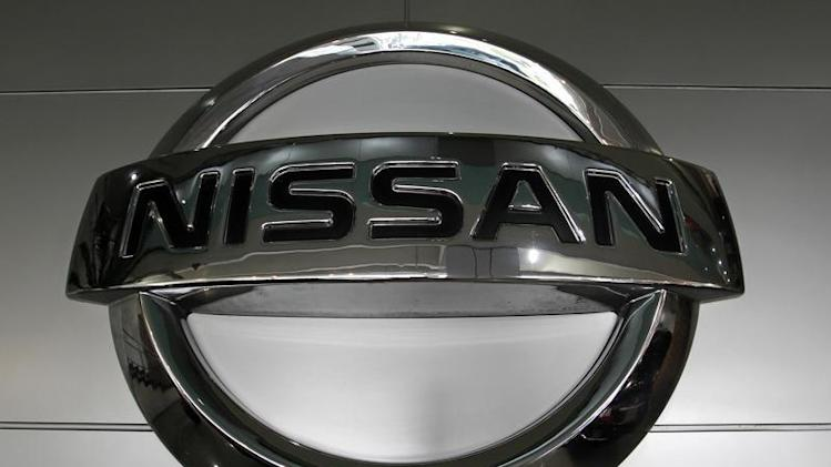 Nissan's logo is seen in a dealer in Jakarta