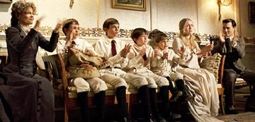 Julie Christie , Joe Prospero , Nick Roud , Freddie Highmore , Luke Spill , Kate Winslet and Johnny Depp in Miramax Films' Finding Neverland