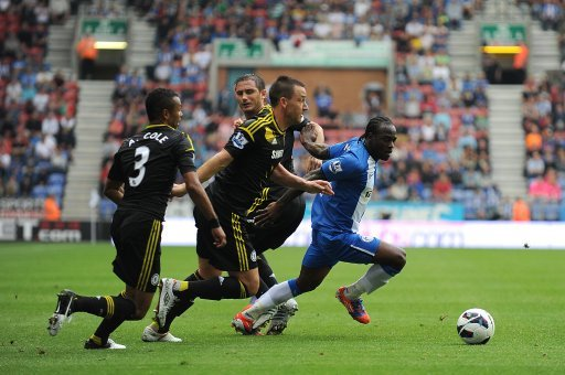 Roberto Martinez praised Victor Moses, right, for his performance against Chelsea on Sunday
