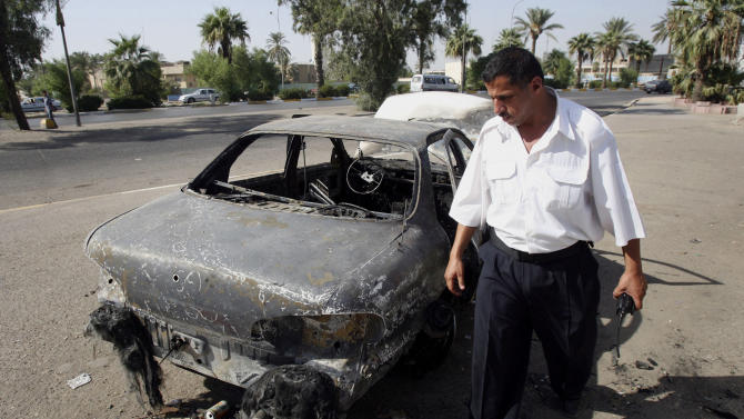 a car destroyed by a Blackwater security detail in al-Nisoor Square in Baghdad