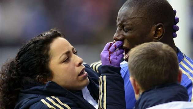 Chelsea's Demba Ba receives treatment for a broken nose