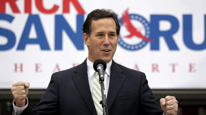 Republican presidential candidate, former Pennsylvania Sen. Rick Santorum addresses supporters outside the campaign headquarters in Brookfield, Wis., Saturday, March 31, 2012. (AP Photo/Jae C. Hong)
