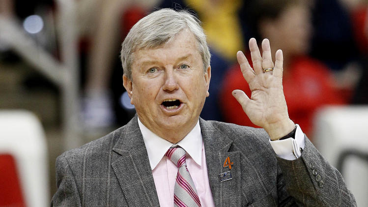 Texas A&M coach Gary Blair directs his team during the first half of an NCAA college women's tournament regional semifinal basketball game against Maryland in Raleigh, N.C., Sunday, March 25, 2012. Maryland won 81-74. (AP Photo/Gerry Broome)