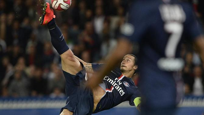Paris Saint-Germain's Zlatan Ibrahimovic during the Ligue 1 match against Saint-Etienne on August 31, 2014 at the Parc des Princes
