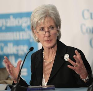 FILE - In this Nov. 30, 2011, file photo, U.S. Health and Human Services Secretary Kathleen Sebelius participates in an roundtable discussion on health information technology and job creation at Cuyahoga Community College in Cleveland. The Obama administration says the number of young adults going without medical coverage has shrunk by 2.5 million since the new health care law took effect. A new analysis to be released Wednesday, Dec. 14, 2011, finds the drop is two-and-half times larger than indicated by government and private estimates from earlier this year. The health care overhaul allows young adults to stay on a parent's plan until they turn 26. (AP Photo/Tony Dejak, File)