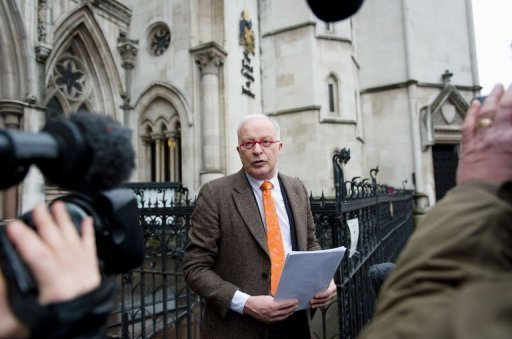 Phil Shiner of Public Interest Lawyers outlines his case against the Ministry of Defence to members of the media as he stands outside the High Court in central London on January 29, 2013. Shiner is representing a number of Iraqi civilians who claim to have been abused and tortured and seen family members killed by British troops