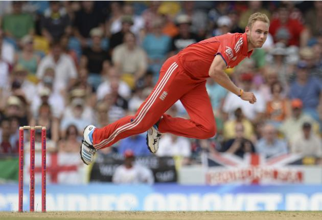 England's Broad bowls during the first T20 international against the West Indies' at Kensington Oval in Bridgetown