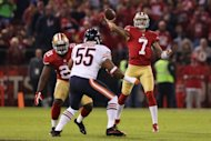 San Francisco 49ers&#39; Colin Kaepernick throws a pass during their game against the Chicago Bears. Kaepernick made his first career start count by throwing a pair of touchdown passes as the 49ers routed the Bears 32-7
