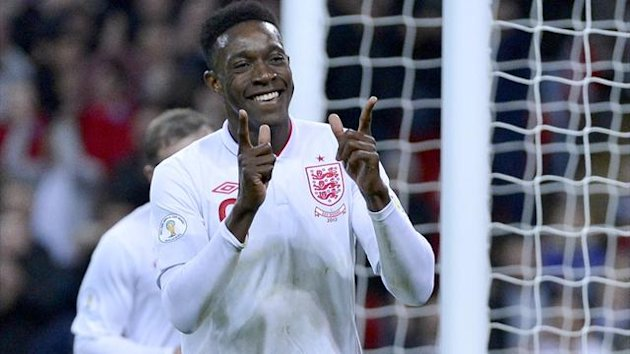 England&#39;s Danny Welbeck celebrates after scoring during their 2014 World Cup qualifying soccer match against San Marino