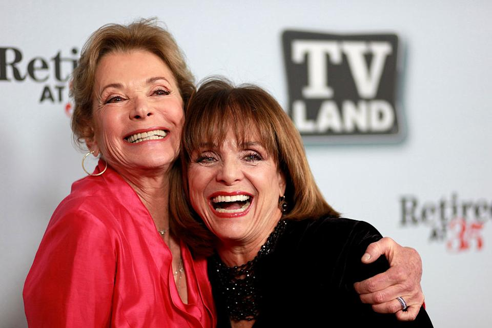 "Jessica Walter and Valerie Harper arrive at the ""Hot In Cleveland"" and ""Retired At 35"" premiere party at Sunset Tower on January 10, 2011 in West Hollywood, California."