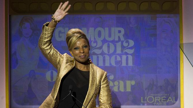 Mary J. Blige appears onstage at the Glamour Women of the Year Awards on Monday, Nov. 12, 2012 in New York. (Photo by Charles Sykes/Invision/AP)