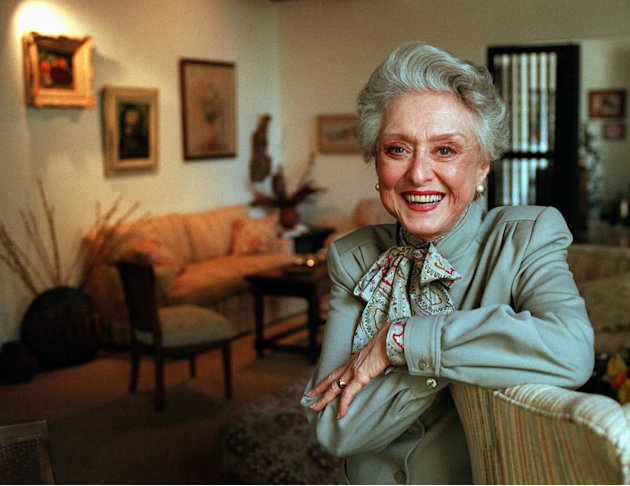 "FILE- In this March 12, 1997, file photo, actress Celeste Holm poses at a friends' home in Santa Monica, Calif. Celeste Holm, a versatile, bright-eyed blonde who soared to Broadway fame in ""Oklahoma!"""