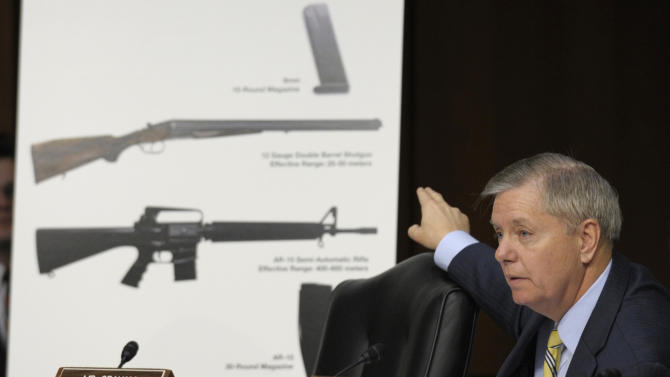 FILE- In this Jan. 30, 2013, file photo Senate Judiciary Committee member Sen. Lindsey Graham, R-S.C., talks about gun legislation during the committee's hearing on Capitol Hill in Washington. Congress returns from a two-week spring recess Monday, April 8, 2013, with gun control and immigration high on the Senate's agenda. Senators could start debating Democratic-written gun legislation before week's end, but leaders may decide to give negotiators more time to seek a deal on expanding background checks for firearms buyers. (AP Photo/Susan Walsh, File)