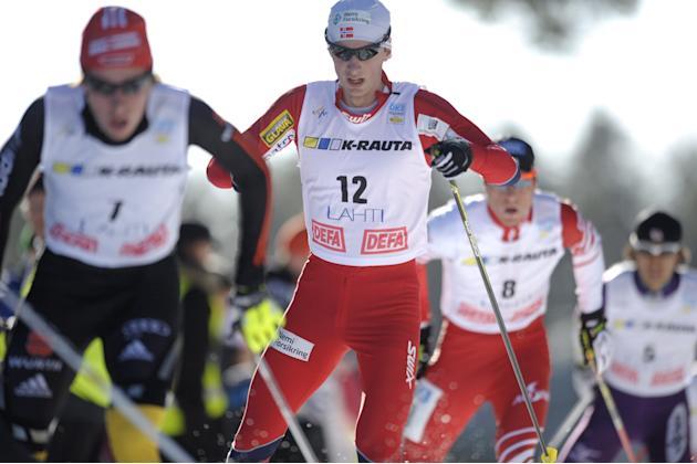Winner Jan Schmid of Norway competes during the men's Nordic Combined Gundersen 10km World Cup race at the Lahti Ski Games in Lahti on March 3, 2012. AFP PHOTO / LEHTIKUVA / Martti Kainulainen *** FIN
