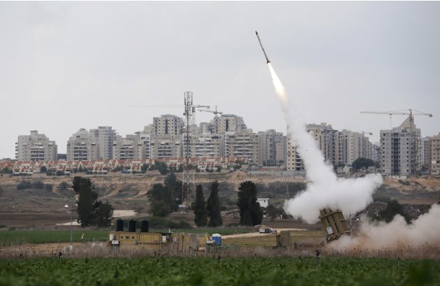 An Iron Dome launcher fires an interceptor rocket near Ashkelon