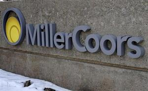 A sign is seen outside the MillerCoors corporate offices in Golden