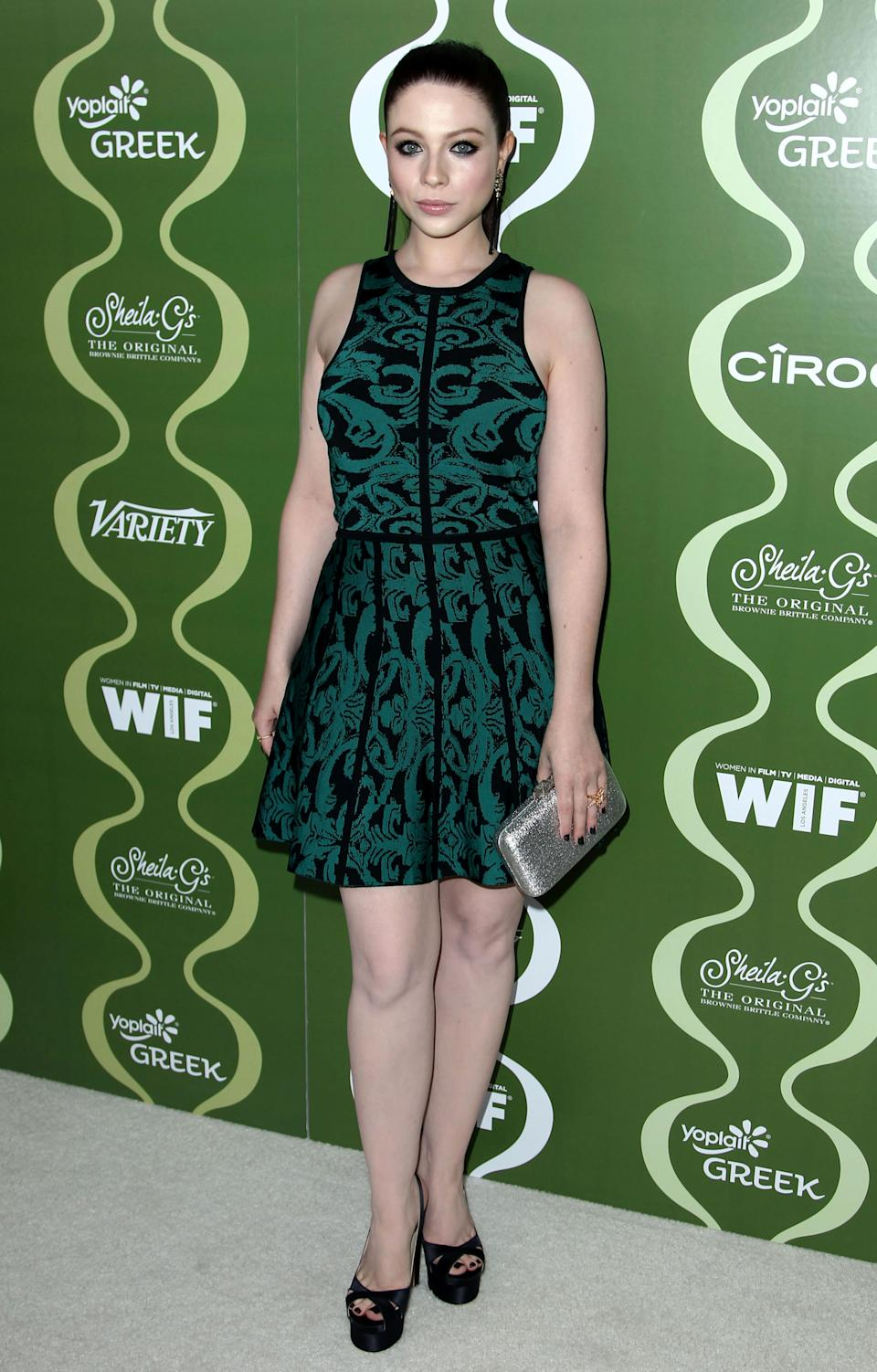 Michelle Trachtenberg arrives at the 2013 Women In Film pre-emmy event at Scarpetta at the Montage Hotel on Friday, Sept. 20, 2013 in Beverly Hills, Calif. (Photo by Matt Sayles/Invision/AP)