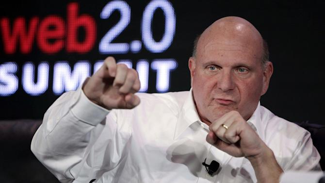 In this Oct. 18, 2011, file photo, then-Microsoft CEO Steve Ballmer speaks at the Web. 2.0 Summit in San Francisco. With the potentially record-breaking $2 billion sale of the Los Angeles Clippers hanging in the balance, a trial beginning Monday, July 7, 2014, will focus on whether Donald Sterling's estranged wife had the authority under terms of a family trust to unilaterally negotiate the deal. Shelly Sterling struck a deal to sell the Clippers to Ballmer after Donald Sterling's racist remarks to a girlfriend were publicized and the NBA moved to oust him as team owner