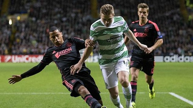 James Forrest opened the scoring for Celtic against Ajax from the penalty spot