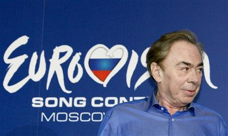 English composer Andrew Lloyd Webber attends a news conference ahead of the Eurovision Song Contest final in Moscow
