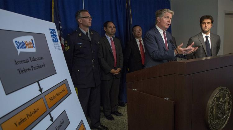 Manhattan District Attorney Cyrus Vance Jr. speaks during a news conference at his office in midtown Manhattan, New York