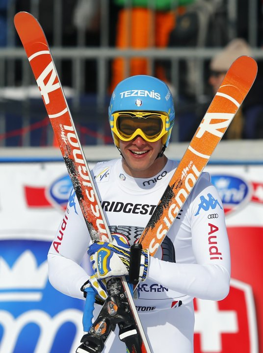 Innerhofer from Italy poses in the finish area in the men's Downhill ski race at the Alpine Skiing World Cup in Garmisch-Partenkirchen