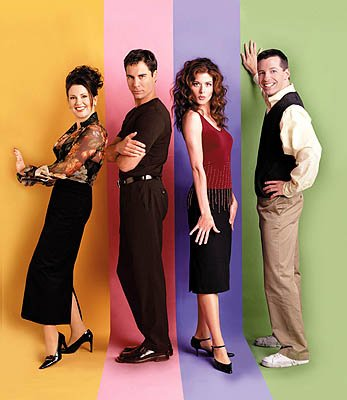 Megan Mullally, Eric McCormack, Debra Messing and Sean Hayes on NBC's Will and Grace