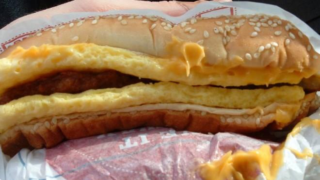 "Burger King's ""Enormous Omelet Sandwich"" contains 47 grams of fat."