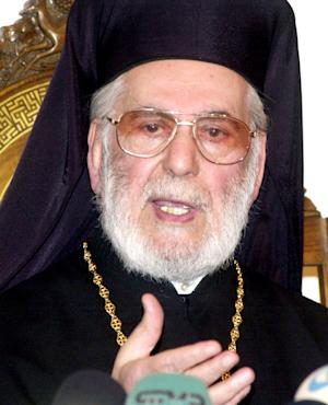 FILE - In this Monday March 28, 2005 file photo, the Patriarch of Antioch, Ignatius Hazim IV talks during a press conference in Damascus. Syria's official news agency says the patriarch of a Damascus-based Eastern Orthodox Church, Ignatius Hazim, died Wednesday Dec. 5, 2012, in a Beirut hospital. He was 91. (AP Photo/Bassem Tellawi, File)