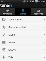 TuneIn Radio is available on Google Play for Android devices.