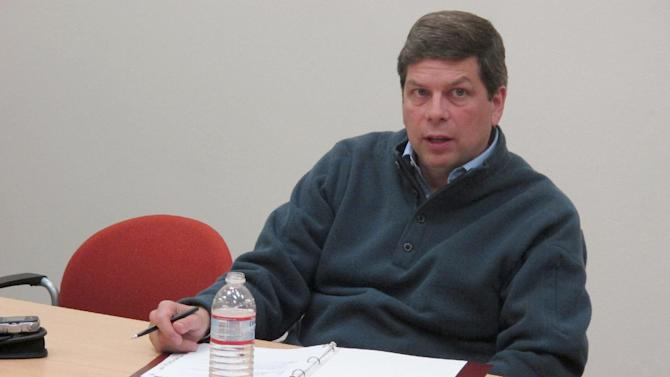 In this June 7, 2013 photo, Sen. Mark Begich, D-Alaska, speaks during a meeting with local business leaders in Juneau, Alaska. Begich, a Democrat from Alaska seeking re-election next year, probably couldn't ask for a better start in his re-election campaign, with the state Republican Party emerging from a chaotic year and gearing up for a divisive primary as it hunts for a strong challenger to run against him. Even so, the freshman senator - who has a political pedigree, a wad of campaign cash and a reputation as a scrappy campaigner - brushes off the notion of anything short of a tough race even as he casts himself as a moderate in hopes of attracting voters from across the political spectrum. (AP Photo/Becky Bohrer)