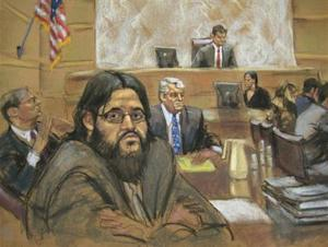 Adis Medunjanin is shown reacting to his guilty verdict in this courtroom sketch in Brooklyn federal court in New York