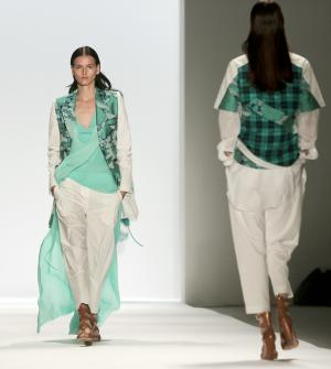 Fashion from the Richard Chai Spring Summer 2014 collection is modeled on Thursday, Sept. 5, 2013, during Fashion Week in New York. (AP Photo/Bebeto Matthews)