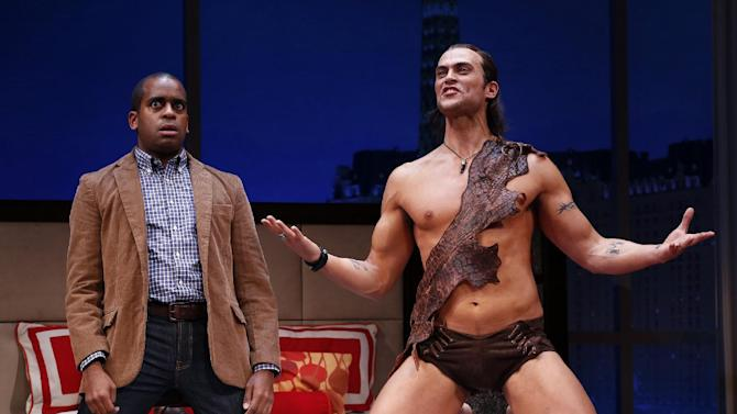 """This theater image released by Sam Rudy Media Relations shows Daniel Breaker, left, and Cheyenne Jackson during a performance of """"The Performers,"""" in New York. (AP Photo/Sam Rudy Media Relations, Carol Rosegg)"""