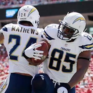 San Diego Chargers tight end Antonio Gates 10-yard touchdown catch