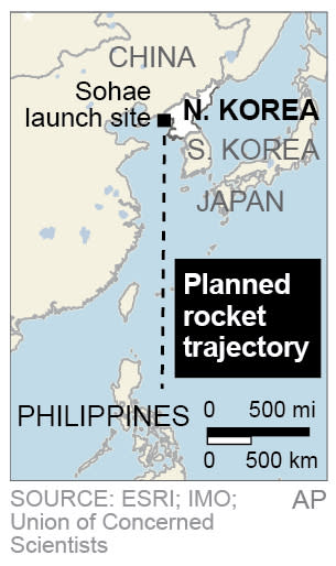 Map locates the planned trajectory of the rocket that North Korea successfully fired;