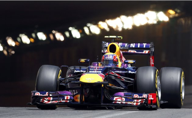 Red Bull Formula One driver Mark Webber of Australia drives during the second practice session of the Monaco F1 Grand Prix
