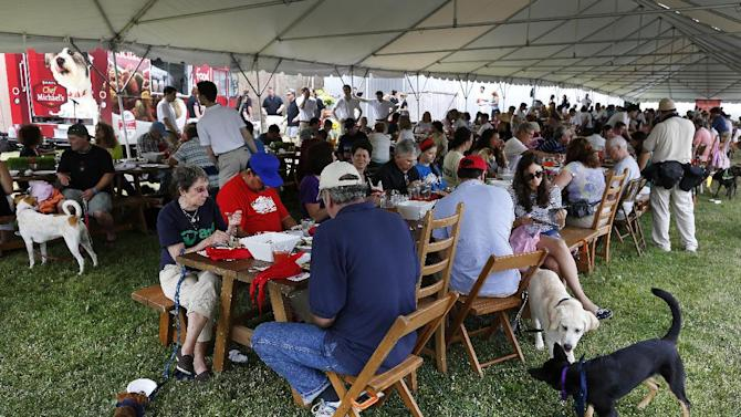 IMAGE DISTRIBUTED FOR CHEF MICHAEL'S - In this image released on Monday, July 1, 2013, Chef Michael's food for dogs sets a RecordSetter World Record by hosting 224 people at the Largest Dog-Friendly Communal Dining Event in Bridgehampton, N.Y. (John Minchillo/AP Images for Chef Michael's)