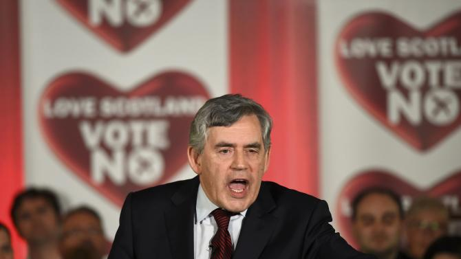 Former British Prime Minister Gordon Brown speaks at a 'No' campaign rally in Glasgow
