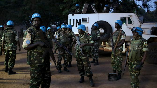 United Nations peacekeepers prepare to secure the grounds of the central mosque in the mostly Muslim PK5 neighbourhood of the capital Bangui for the visit of Pope Francis