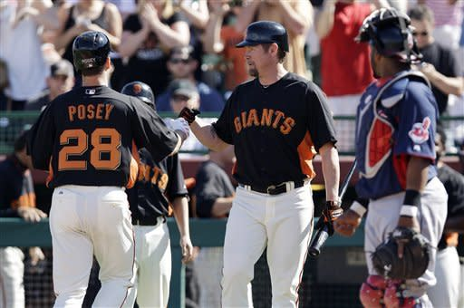 Posey gets first spring hit, Giants tie Indians