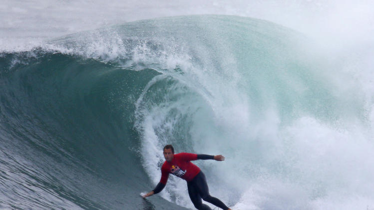 Ryan Hipwood competes at the Red Bull Cape Fear invitational surfing tournament, off the shores of southern Sydney
