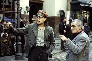 Leonardo DiCaprio and director Martin Scorsese on the set of Miramax's Gangs of New York