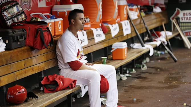 St. Louis Cardinals starting pitcher Kyle Lohse (26) reacts on the bench after he was taken out of the game during the sixth inning of Game 3 of baseball's National League championship series against the San Francisco Giants, Wednesday, Oct. 17, 2012, in St. Louis. (AP Photo/David J. Phillip)