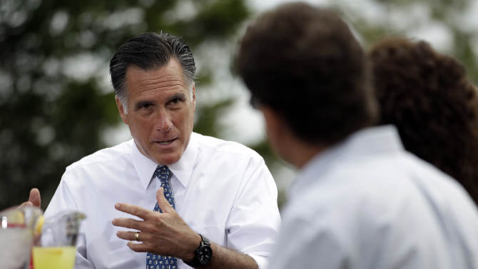 Republican presidential candidate, former Massachusetts Gov. Mitt Romney meets with a group of Pittsburgh area residents in Bethel Park, Pa., Tuesday, April 17, 2012. (AP Photo/Jae C. Hong)