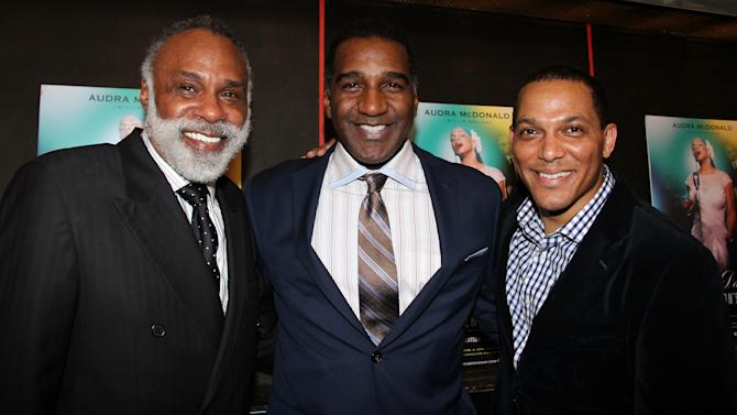 """In this undated photo, singer and """"The Phantom of the Opera"""" star Norm Lewis, center, is flanked by producer and musical supervisor Chapman Roberts, left, and producer David Greer. All three are getting ready for """"The Black Stars of the Great White Way"""" concert at Carnegie Hall on Monday night to celebrate the legacy of African-American men on Broadway. (AP Photo/Lisa Pacino)"""