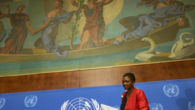 U.N. humanitarian chief Valerie Amos arrives for a news conference on Ebola at the United Nations in Geneva