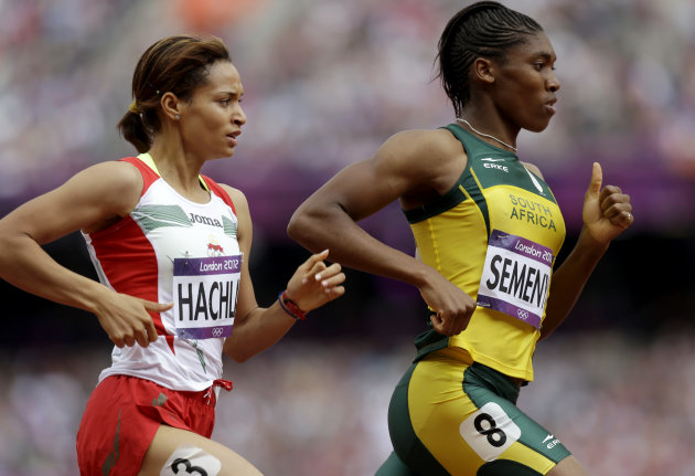South Africa's Caster Semenya leads Mauritius' Annabelle Lascar in a women's 800-meter heat during the athletics in the Olympic Stadium at the 2012 Summer Olympics, London, Wednesday, Aug. 8, 2012. (A